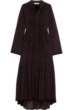 Chloé | Lace-trimmed printed cotton and silk-blend crepon dress | NET-A-PORTER.COM