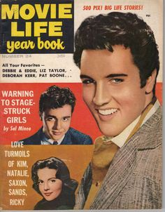 "Elvis Presley, Sal Mineo and Natalie Wood on the cover of ""Movie Life"" magazine's yearbook, USA, 1958."