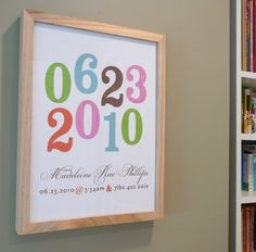 Great way to display baby's birth date!  This really IS cute! from AlmostSundayInc - $34