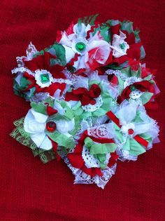 Red Green White/ Linen & Lace/ Home Decor/ by DolledandDazzled