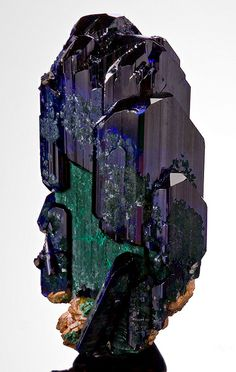 Azurite with Malachite ps after Azurite. From Touissit, Touissit District, Oujda-Angad Province, Oriental Region, Morocco. Measures 6 cm by 3.8 cm by 2.3 cm