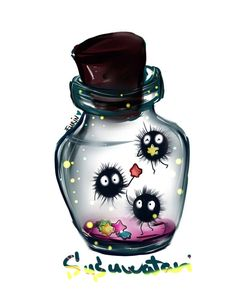 Susuwatari by Soot Sprites Spirited away my neighbor Totoro I don't like them in the jar Studio Ghibli Tattoo, Studio Ghibli Art, Studio Ghibli Movies, Manga Anime, Anime Art, Hayao Miyazaki, Anime Tattoos, Tatoos, Howls Moving Castle