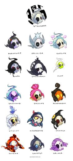 Duskull Variations/Crossbreeds (by myiudraws on tumblr)