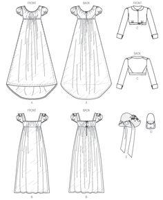 B6074   Empire Waist Dresses, Jacket, Purse and Hat Trim Sewing Pattern   Butterick Patterns Gown Pattern, Dress Patterns, Bonnet Pattern, Jane Austen, Regency Dress, Regency Era, Historical Clothing, Historical Dress, Mccalls Sewing Patterns