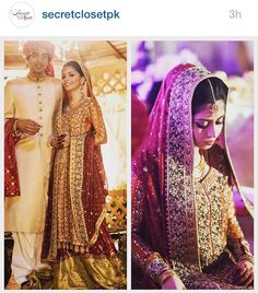Bridal outfit by Sana Abbas. Saffron and maroon and a hint of olive