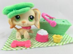 Littlest Pet Shop RARE Cream Cocker Spaniel #347 w/Hat & Accessories #Hasbro