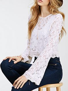 Choies Women's White Round Neck Sheer Lace Flare Sleeve Crop Blouse S Boho Fashion, Fashion Outfits, Womens Fashion, Crop Blouse, Blouse Styles, Lace Tops, White Lace, Casual Dresses, Clothes For Women