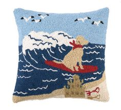 Surfing Lab Coastal Decor Pillow