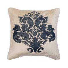 "Decorative Velvet Cushion 16""x 16"", Throw Pillow Blue & Ecru Leather Applique Damask Pillow Cover Modern Home Decor - Damask Calm"