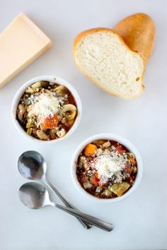 Warm up your Crock-Pot (and your belly) with this sip-able slow cooker minestrone. The soup features a hearty mix of carrots, beans, celery, onion and noodles. It's great for those days when you want to keep lunch simple with soup and crackers. You can also make a batch in advance, and freeze it.