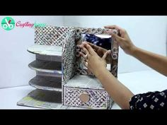 (17162) How to Make Dressing Table, Vanity Table, DIY Desk Organizer from Cardboard & Newspaper - YouTube