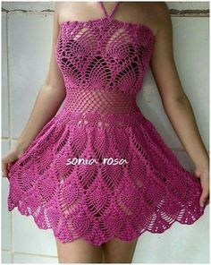 Vestido de crochê Crochet Beach Dress, Crochet Summer Tops, Crochet Shorts, Crochet Tunic, Crochet Clothes, Crochet Lace, Knit Dress, Crochet Bikini, Lace Dress