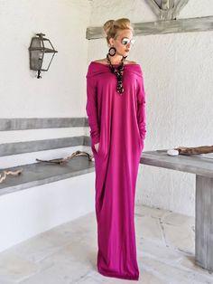 Magenta Maxi Long manche col roulé robe avec poches / Magenta