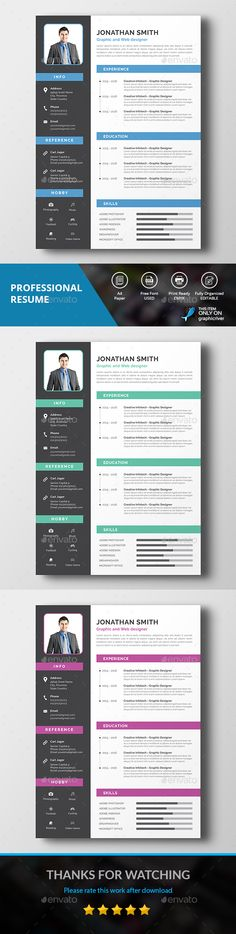 Professional Resume Design Template - Resumes Stationery Design Template PSD. Download here: https://graphicriver.net/item/professional-resume/19322365?ref=yinkira