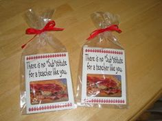 "idea for male teachers..  this one I love... I found it at creativehomemakers.blogspot.com  and it is a gift card to SUBWAY inside.. ""there is no SUB-stitute for a teacher like you!"""