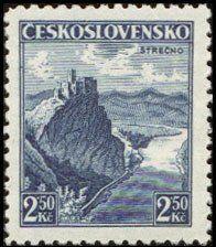 Znaczek: Strečno (Czechosłowacja) (Castles, landscapes and cities) Mi:CS 354,Sn:CS 221,Yt:CS 314,AFA:CS 218,POF:CS 308