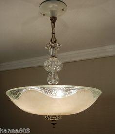 "Vintage 1930's Restored Antique Art Deco Glass Ceiling 5 Light Chandelier LG 16""   eBay"