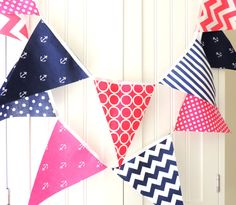 21 Fabric Flag Bunting, 9 Feet, Nautical Girl, Navy Blue, Pink, Anchors, Polka Dot, Chevron, Baby Nursery Decor, Wedding Garland, Birthday on Etsy, $32.00