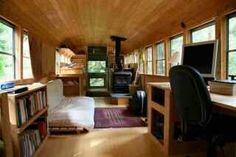 Old school bus renovated into a moving home! LOVE!!
