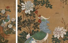Chinese Painting on Silk. Late 19th/early 20th century. 40 x 14-3/4 inches showing.