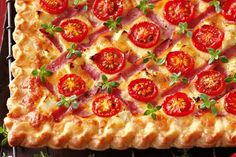 Cheese, ham and cherry tomato tart main image