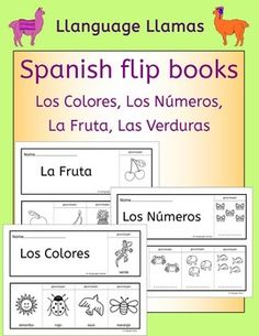 Spanish colors numbers fruit vegetables - fun flipbooks to color and assemble Spanish Teaching Resources, Spanish Activities, Spanish Lessons, Learn Spanish, Spanish Worksheets, Spanish 1, Spanish Memes, French Lessons, Reading Resources