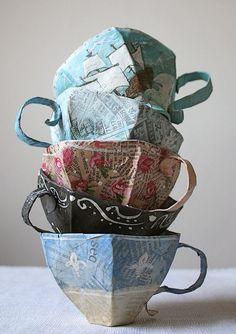 Papermache tea cups