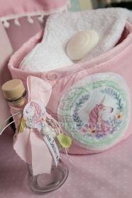 Μένη Ρογκότη - Σετ βάπτισης για κορίτσι με θέμα τον μονόκερο Easter Pillows, Vintage Images, Wicker Baskets, Pink Roses, Shabby Chic, Children, Collection, Ribbon, Design