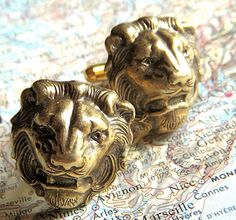 New Antiqued BRASS METAL Lion Cufflinks We Are Proud Of Our Exemplary Craftsmanship & Handcrafted Quality BIG Bold & Brass Lion Cufflinks Vintage