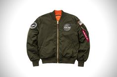 Alpha Industries Takes To The Stars With Their Military Inspired NASA Bomber Jackets Nasa Bomber Jacket, Bomber Coat, Bomber Jackets, Alpha Industries Nasa, Men's Coats And Jackets, Men Online, Winter Collection, Street Wear, Fall Winter