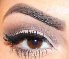 Silver / mauve eyeshadow & thick black eyeliner
