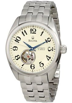 Price:$159.00 #watches Bulova 96A124, Stainless steel case and bracelet. Cream dial with blue hands. Open-heart display. Exhibition caseback. Curved crystal. 21 jewel automatic movement. Water resistant 30 meters. Case 43mm.