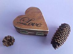 Jewelry Box, Wood Box, Solid Wood ,Love, Proposal, Handmade, Rings, Heart-Shaped Box, Wedding, Woodburning, Pyrography,