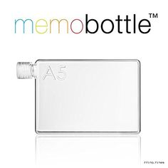 A5 memo bottle - Reusable Slim Water Bottle - Made from Recycled BPA Free Plastic - 750ml