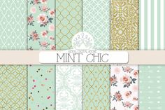 MINT CHIC digital paper - this shade of mint is gorgeous and the floral one OMFG *heart eyes*