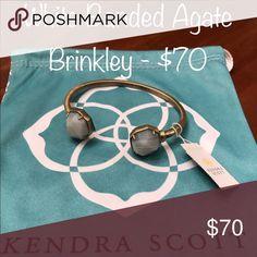 Kendra Scott Brinkley in White Banded Agate Kendra Scott Brinkley cuff in antique gold and white Banded Agate stones Kendra Scott Jewelry Bracelets