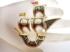 Vintage Damascene SHIP Brooch Enamel Toledo Ware Spain Gold Plated | eBay
