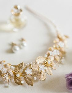 A super sweet handcrafted bridal tiara made from golden leaves, mother of pearl carved flowers and mother of pearl beads. Bridal Tiara, Bridal Headpieces, Pearl Beads, Pearl Necklace, Golden Leaves, Creative Business, Baroque, Wedding Inspiration, Carving
