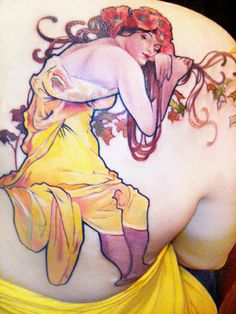 Alphonse Mucha, I would love to have a mucha inspired tattoo, female, flowers, flowing. Amanda Wachob has the most beautiful use of colours in tattoos I've ever seen - www.amandawachob.com