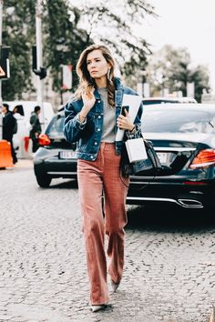 Denim jacket and wide leg cords