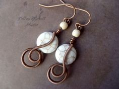 white magnesite stone earrings by PillarOfSaltStudio