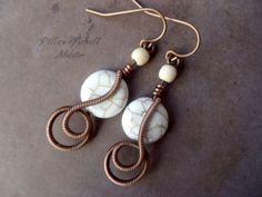 white magnesite stone earrings by PillarOfSaltStudio