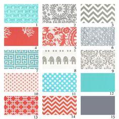 gray and coral quilts   ... -Custom Crib Bedding-3 piece-Aqua, Grey and Coral. $265.00, via Etsy