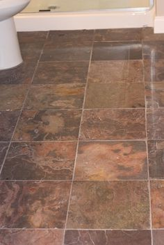Slate Tile bathroom floor- like the tile but would do with dark beige grout