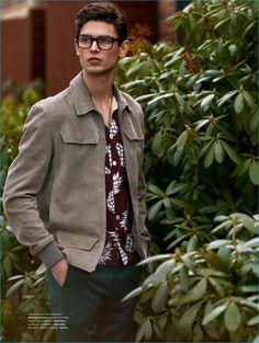 Arthur Gosse plays it smart in a suede jacket from Bottega Veneta.