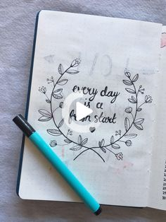 """Positive quote page 🖤 """"Every day is a fresh start"""" ~ Floral themed positivity quote as a nice page filler for your bullet journal. Goes great next to a sleep log! Bullet Journal And Diary, Self Care Bullet Journal, Bullet Journal Quotes, Bullet Journal Cover Page, Bullet Journal Aesthetic, Bullet Journal Notebook, Bullet Journal Tracker, Bullet Journal Ideas Pages, Bullet Journal Layout"""
