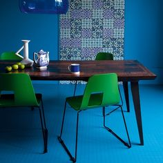 Have you ever considered having a bright blue rubber floor in your kitchen? After seeing this you might...check out our rubber flooring selection: http://americasfloorsource.com/catalog/rubber