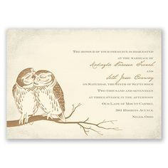 Owl Be Yours, Owl Wedding Invitation - Ecru | Invitations by Dawn at Invitations By Dawn