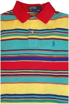 d52a00b5bc5 Men's Polo By Ralph Lauren Short Sleeve Polo Shirt Multicolored Stripes  Size Small at Amazon Men's Clothing store:
