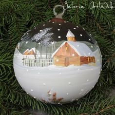 Hand painted glass ball by ArtWilk Glass Christmas Balls, Painted Christmas Ornaments, Hand Painted Ornaments, Handmade Christmas, Christmas Wreaths, Christmas Bulbs, Christmas Crafts, Christmas Decorations, Christmas Projects